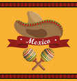 mexican hat with maracas instrument vector image vector image