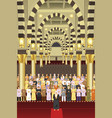 muslims praying together in a mosque vector image