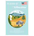natural park poster scene with bison mountains vector image vector image