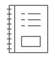notebook thin line icon office and school note vector image