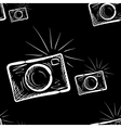 photo camera on chalkboard background vector image vector image