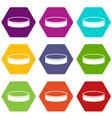 puck icon set color hexahedron vector image vector image