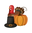 Pumpkin turkey and hat of Thanksgiving vector image vector image