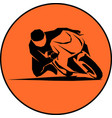 racer ride sportbike eps 10 isolated icon vector image