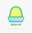 sauna hat thin line icon spa accessory vector image vector image