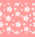 seamless texture with flowers on pink background vector image vector image