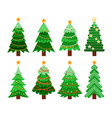 set of flat 8 christmas tree vector image