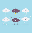 set of white and dark clouds vector image
