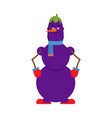 snowman eggplant happy new year and christmas vector image