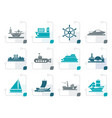 stylized different types of boat and ship icons vector image vector image