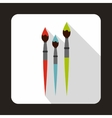 Three brushes for painting icon flat style vector image vector image