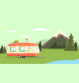 travel trailer against mountain landscape camping vector image