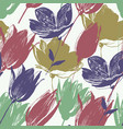 tulip flowers seamless pattern in retro style vector image vector image