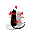Two cat in love for your design vector image