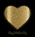 valentines day background with gold glittery heart vector image