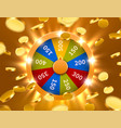 wheel of fortune with falling coins gamble chance vector image vector image