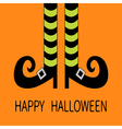 Witch legs with striped socks and shoes Halloween vector image vector image