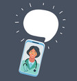 woman doctor on dark speech bubble vector image vector image