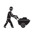 worker with wheelbarrow black concept icon vector image vector image