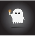 Little cartoon ghost with candle vector image