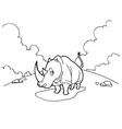 rhinoceros cartoon coloring pages vector image