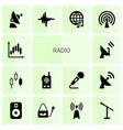 14 radio icons vector image vector image