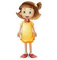 A cute young girl wearing a yellow polka dress vector image