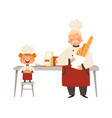 baking workshop smiling girl and chef in uniform vector image