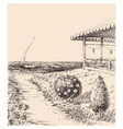 beach house scene footpath to sea and a boat vector image