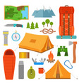 camping icons set hike outdoor elements vector image vector image