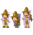 cartoon boyscout ranger character set vector image