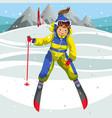 cartoon happy ski teacher coming off hill vector image vector image