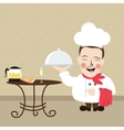 chef at restaurant present his food dish vector image