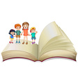 Children standing on big book vector image vector image