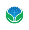 circle leaf globe ecology logo image vector image vector image