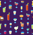 cocktail drink 3d seamless pattern background vector image