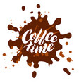 coffee time lettering inside of a blot vector image