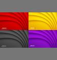 colorful wavy background set business card set vector image