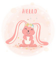 cute bunny with flower crown in spring flat vector image vector image