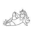 cute little unicorn is doing exercise vector image