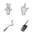 fishing toy and other monochrome icon in cartoon vector image