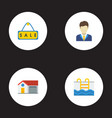 flat icons home broker sold and other vector image
