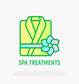 folded bathrobe thin line icon spa treatments vector image