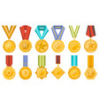 golden medals collection with ribbons set vector image vector image
