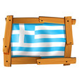 greece flag in square frame vector image vector image