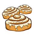 hand drawn cinnamon rolls vector image