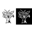 Hand drawn doodle Halloween tree Black and white vector image vector image