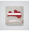 Icon of Latvia map with flag vector image vector image