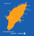 island of rhodes in greece orange map and blue vector image vector image