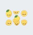 lemon set drawn cute kawaii food faces vector image